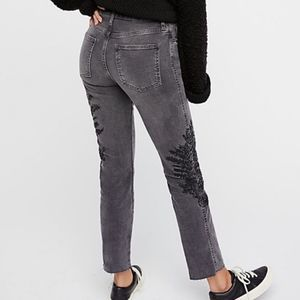 We The Free grey embroidered denim high rise